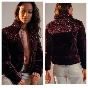 Anthropologie Vera sequined velvet puffer jacket